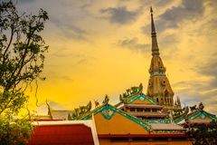 Beautiful golden pagoda at Wat Sothonwararam, a famous public te. Mple in Chachoengsao Province, Thailand Royalty Free Stock Photography