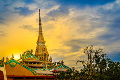 Beautiful golden pagoda at Wat Sothonwararam, a famous public te. Mple in Chachoengsao Province, Thailand Royalty Free Stock Image