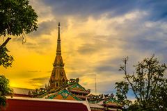 Beautiful golden pagoda at Wat Sothonwararam, a famous public te. Mple in Chachoengsao Province, Thailand Stock Images
