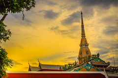 Beautiful golden pagoda at Wat Sothonwararam, a famous public te. Mple in Chachoengsao Province, Thailand Royalty Free Stock Images