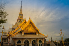 Beautiful golden pagoda at Wat Sothonwararam, a famous public te. Mple in Chachoengsao Province, Thailand Stock Photography