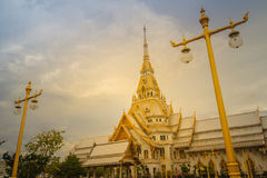 Beautiful golden pagoda at Wat Sothonwararam, a famous public te. Mple in Chachoengsao Province, Thailand Stock Photo