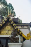 Beautiful golden pattern on gable end in Burmese style Buddhist church at Wat Chedi Luang, Chiang Mai, Thailand. Many of the regio. Ns temples are built in Lanna royalty free stock photos