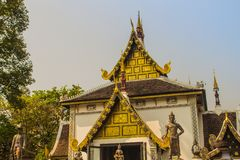 Beautiful golden pattern on gable end in Burmese style Buddhist church at Wat Chedi Luang, Chiang Mai, Thailand. Many of the regio. Ns temples are built in Lanna royalty free stock photography