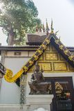 Beautiful golden pattern on gable end in Burmese style Buddhist church at Wat Chedi Luang, Chiang Mai, Thailand. Many of the regio. Ns temples are built in Lanna royalty free stock photo
