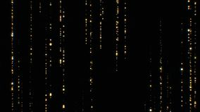 Beautiful Golden Rain Particles Falling Twinkling on Black Background Seamless. Looped 3d Animation of Abstract Dust royalty free illustration