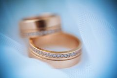 Beautiful golden rings on the vail Stock Photo