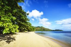 Golden paradise beach at anse possession, praslin, seychelles 1. Beautiful golden sand, palm trees, a blue sky and turquoise water on a sunny day on paradise Stock Photography