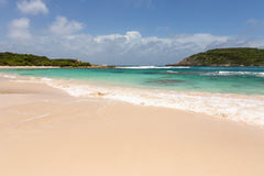 Beautiful Golden Sandy Beach at Half Moon Bay Antigua Stock Photography