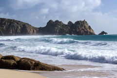 Porthcurno Cornwall. The beautiful golden sandy beach at Porthcurno Cornwall England UK Stock Photography