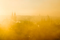 Beautiful Golden Scenery Of Soft Prague Morning Misty Cityscape Stock Image