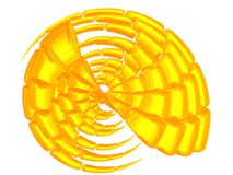 Beautiful golden shell. 3D - Bright golden shell on white Royalty Free Stock Photo