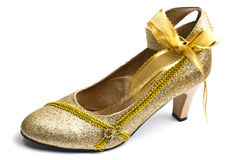 Beautiful golden shoe Stock Photo