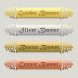 Beautiful Golden, Silver, Bronze, and Copper floral beveled banners set. On modern gray background Royalty Free Stock Image