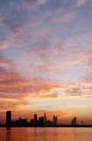 Beautiful golden sky and Bahrain skyline Royalty Free Stock Photos