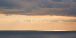 Free Beautiful Golden Sky Of Sunset And Ocean Scenery. Virgin Nature Landscape. Calming Water. Open Sea. Stock Image - 195329401