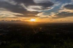 Beautiful golden sky panorama view royalty free stock photos