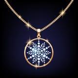 Beautiful golden snowflake pendant vector Stock Photos