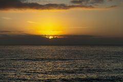 Beautiful golden sunrise on the Atlantic Ocean royalty free stock images
