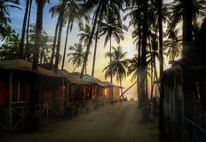 Beautiful golden sunset on the beach, GOA, India Royalty Free Stock Photography