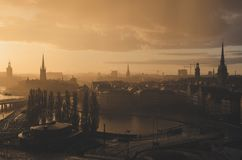 Stockholm golden sunset Royalty Free Stock Photography