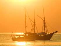 Beautiful golden sunset  at the sea Royalty Free Stock Photo