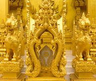 Beautiful golden temple. Is elegant pronounced in Thailand Stock Photo