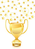 Beautiful golden trophy cup with stars Stock Photography