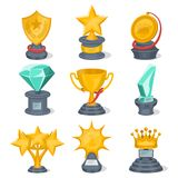 Beautiful golden trophy cups and awards. Of different shape set isolated on white background vector illustration. Winner championship ceremony labels, first Royalty Free Stock Photos