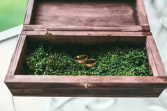 Beautiful golden wedding rings inside a vintage wooden box Royalty Free Stock Photo