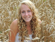 Beautiful Golden Wheatfield and Golden Hair Girl Stock Image