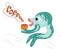 Fish with a Cup of coffee on vacation, at sea. Beautiful, goldfish on vacation, with a Cup of hot, delicious coffee. colorful, vector, hand drawn drawing of Stock Images