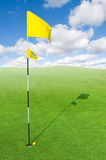 Beautiful golf course. Landscape of a green golf field with sky Stock Image