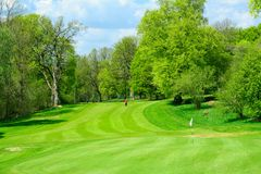 Beautiful golf course in fresh green colors. This is a golf course in southern Sweden. A lovely day late in May when green colors are still very new and fresh Stock Photography