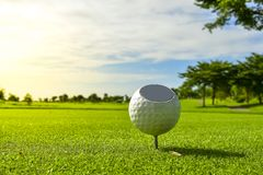 A Beautiful golf course , sand bunker and green grass. A Beautiful golf course , sand bunker , green grass with blue cloud sky back ground royalty free stock photos