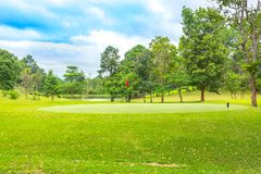 Beautiful golf course on sky blue and cloud stock photo