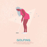 Beautiful golf girl. Female golfer. Sport game Tournament. Royalty Free Stock Image