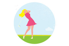 Beautiful golf girl. Female golfer. Sport game Tournament. Stock Photography