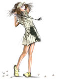 Beautiful golf player - An hand drawn and painted illustration Stock Image