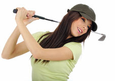 Beautiful golfer girl Stock Image