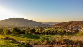Beautiful Golfing At Oak Quarry Golf Course in Southern California. Golf Fareways At Oak Quarry Golf Course in Southern California, with blues and golden tones Stock Photography
