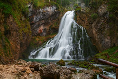 Beautiful Golling waterfall and near Golling and Salzach medieva Stock Images