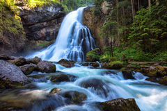 Beautiful Golling waterfall and near Golling and Salzach medieva Royalty Free Stock Photos