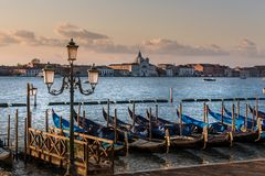 Beautiful Gondole in Venice. Landscape in Venice from Ponte dei Sospiri. Great day and lovely place royalty free stock image