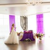 Beautiful gorgeous blonde bride  celebrating Royalty Free Stock Image