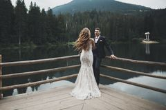 Beautiful gorgeous bride posing to groom and having fun, luxury ceremony at mountains with amazing view, space for text. Wedding couple Royalty Free Stock Photos
