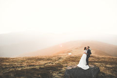 Beautiful gorgeous bride posing to groom and having fun, luxury ceremony at mountains with amazing view, space for text Stock Images