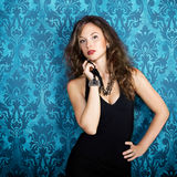 Beautiful gorgeous model posing in blue vintage room Stock Photo