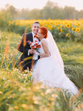 Beautiful gorgeous redhair bride and stylish handsome groom posing in a sunflower sunny field Royalty Free Stock Image