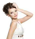 Beautiful gorgeous  woman with curly hairstyle Royalty Free Stock Image